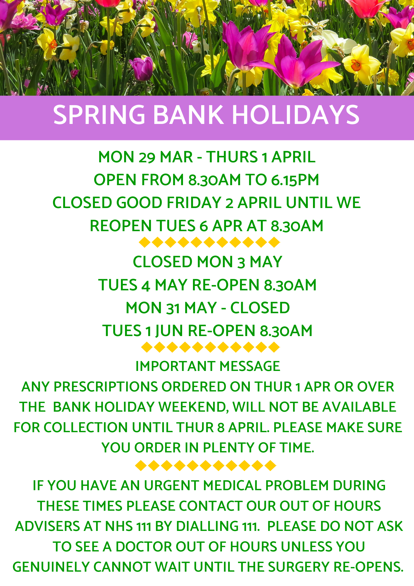 Easter and Bank Holidays